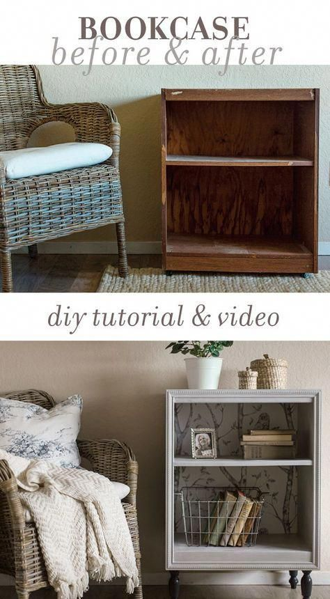 How to turn an old thrift store bookcase into a custom night stand using trim, paint and wallpaper... on a DIY budget! #homedecor