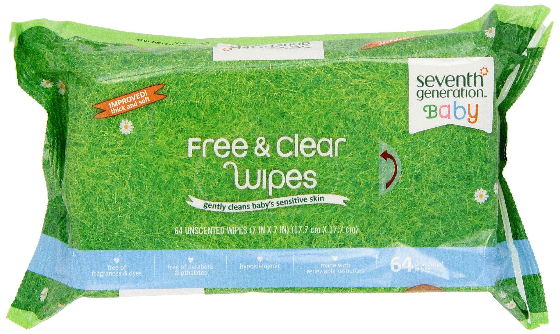 Seventh Generation Thick /& Strong Free and Clear Baby Wipes Refill Pack of 6