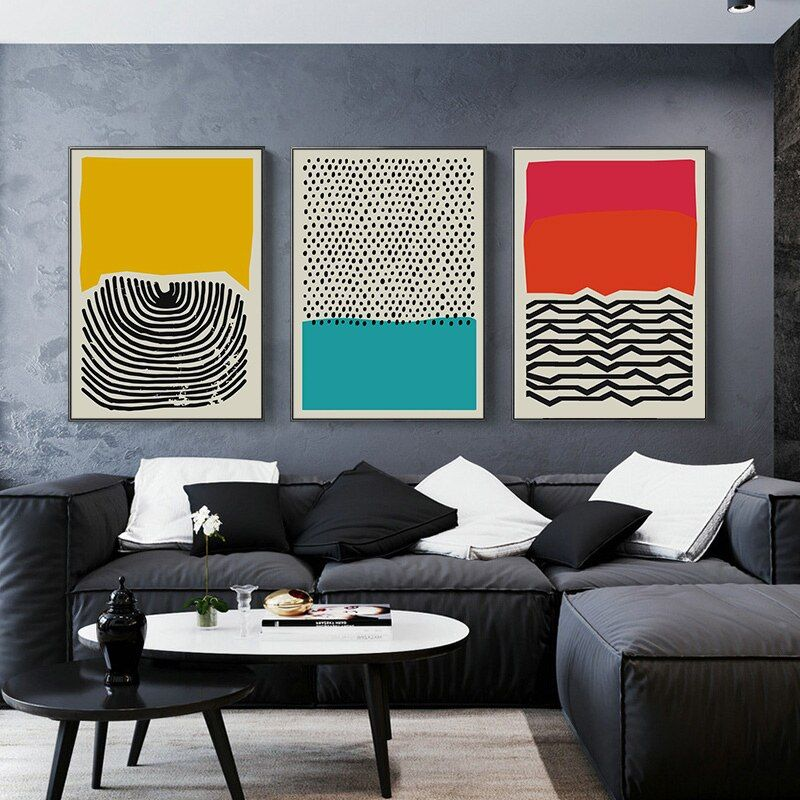 Modern Multicolored Abstract Geometric Wall Art Painting