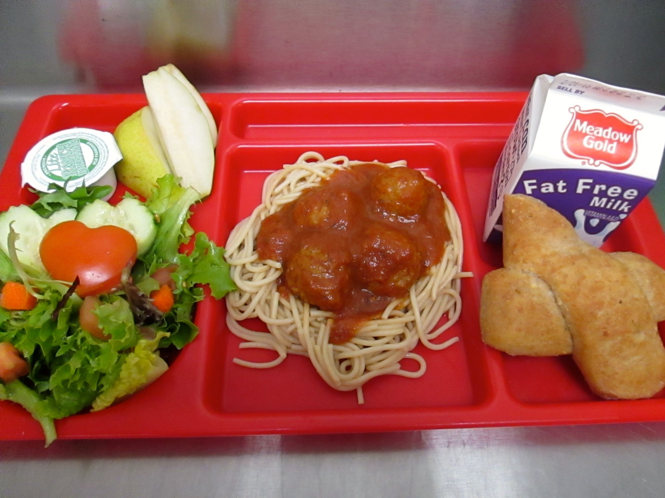 Great tray pic today spaghetti and meatballs tossed