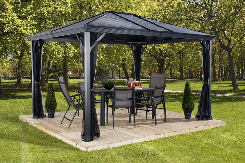10 X 12 Aluminum Gazebo Outdoor All Weather Steel For Patio Sets Hot Tubs Spa Patio Gazebo Gazebo Pergola