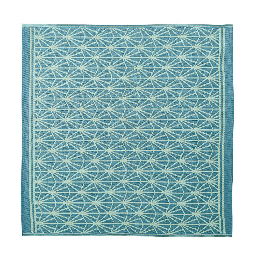 Blue Outdoor Rug with White Graphic Print 180x180 (With