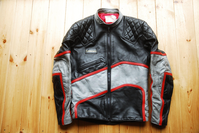 Vintage 1980 S British Interstate Black Grey Red Leather Etsy Cafe Racer Jacket Vintage Leather Jacket Red Leather [ 2008 x 3000 Pixel ]