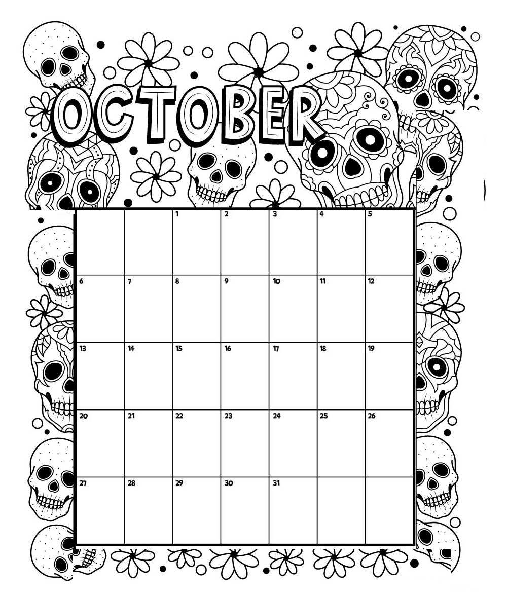 October Printable Coloring Calendar 2019 Coloring Calendar Kids