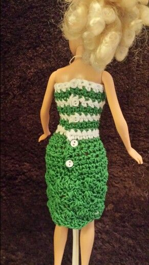 Back view of Barbie green dress
