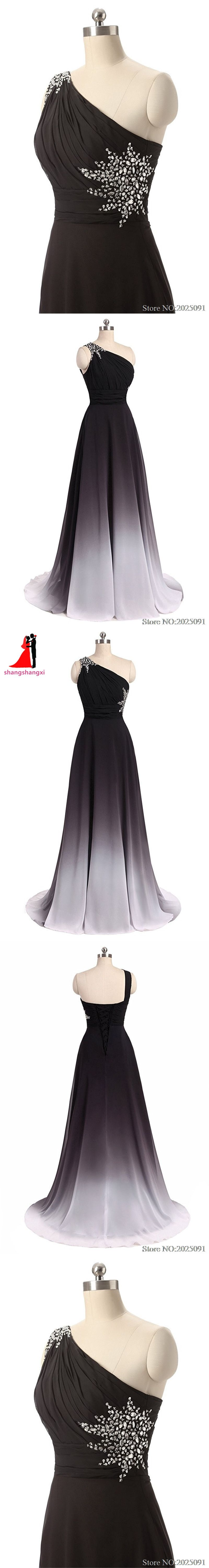 New one shoulder ombre long black white gradient chiffon evening
