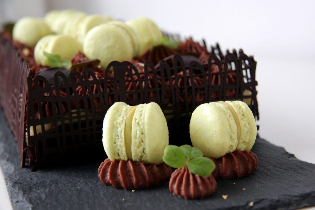 My creamcheese brownie in a luxury edition with chocolate mousse and lime macarons