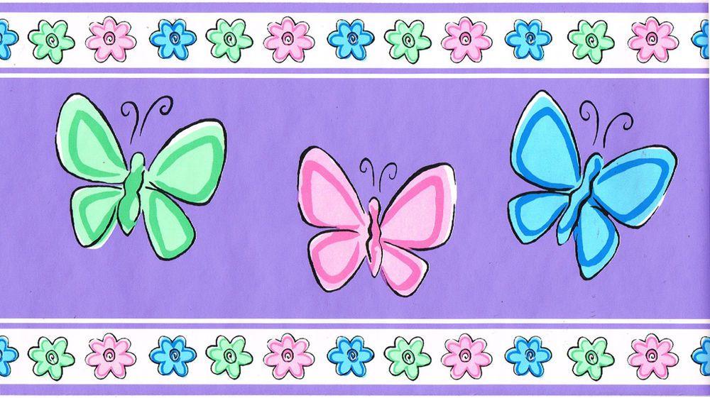 Bed Time Butterfly Pink Green Blue Purple Daisy Flower