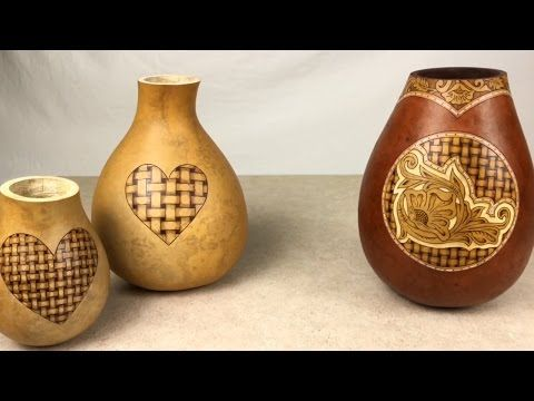 Creating a Gourd Vase with Flowers and Fancy-Cut Rim - YouTube ... on decorative gourd lamps, decorative gourd art, decorative gourd birdhouses, decorative gourd dolls, decorative gourds and squash, decorative gourd vessels,