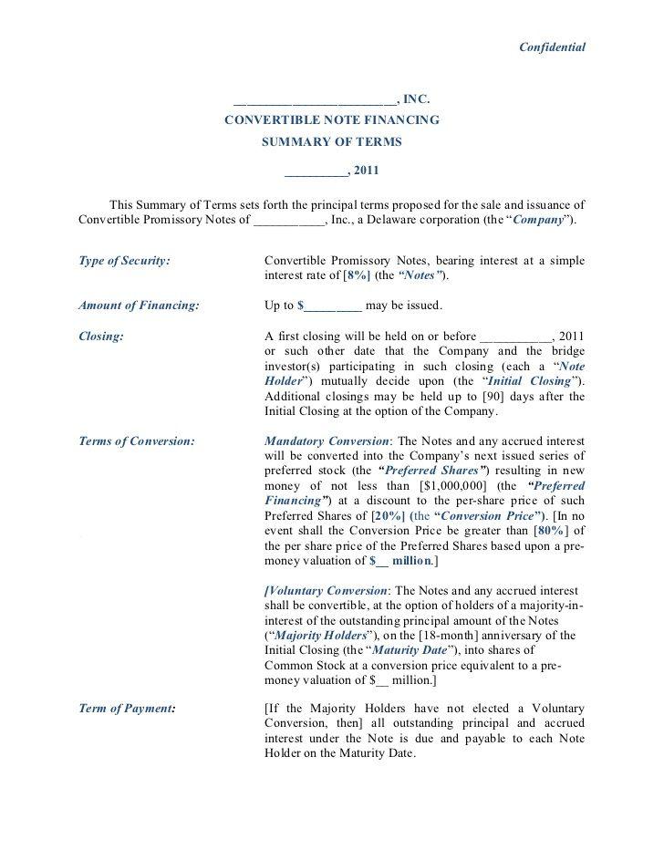 Convertible Note Financing Term Sheet Notes Template Term Sheet Promissory Note