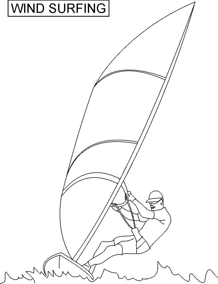 Surfer Printables Wind Surfing Coloring Printable Page For Kids