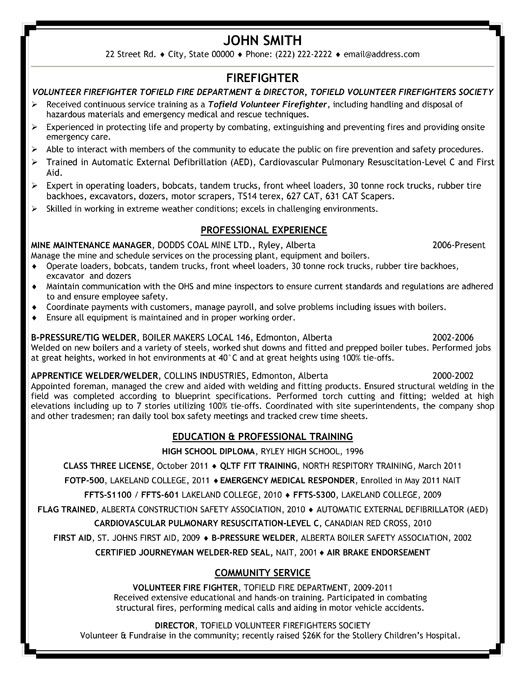 Fire Fighter Resume Template Premium Resume Samples Example Firefighter Jobs Resume Examples Firefighter Resume