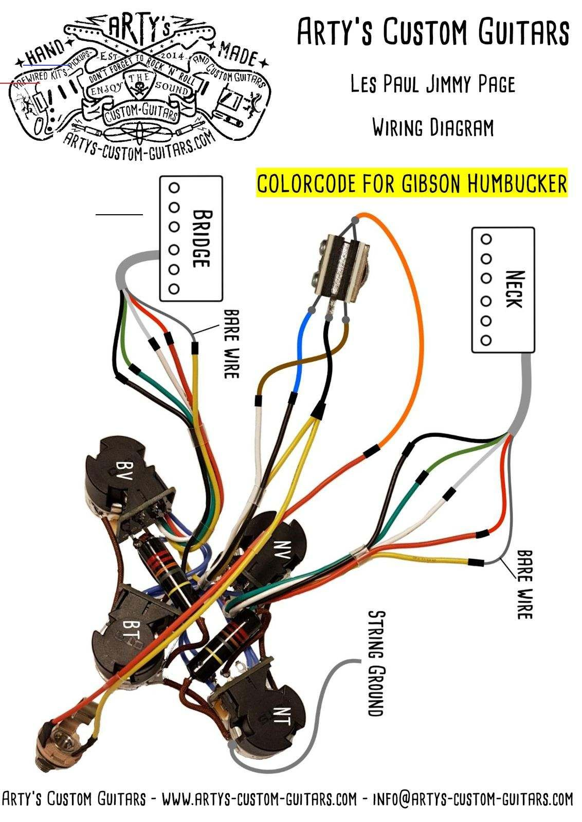 Wiring Harness Les Paul Jimmy Page Customguitars This Prewired Harness Leaves Absolutely Nothing To Be Desired The Circuit Became Famous By The Guitar God I 2020