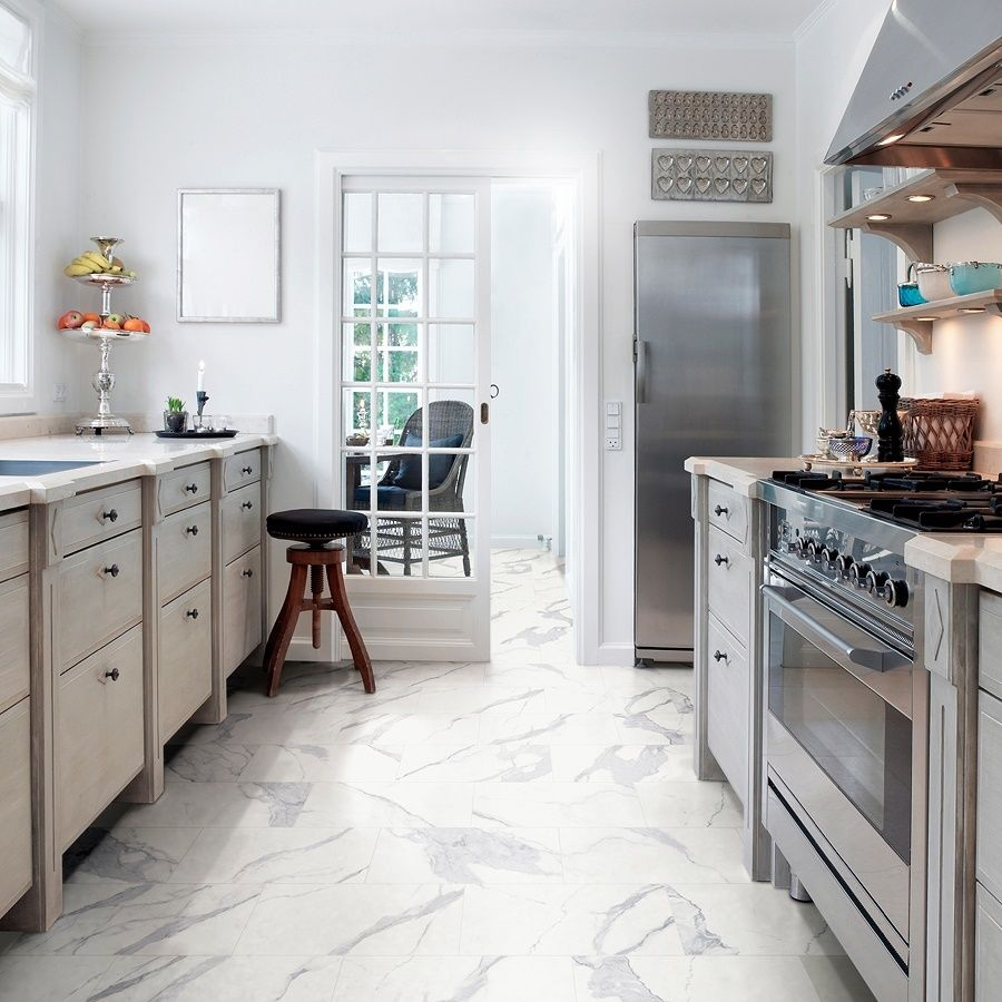 Style Selections Calacatta White 12 In X 24 In Matte Porcelain Marble Look Floor Tile Lowes Com Marble Floor Kitchen Tile Floor Flooring