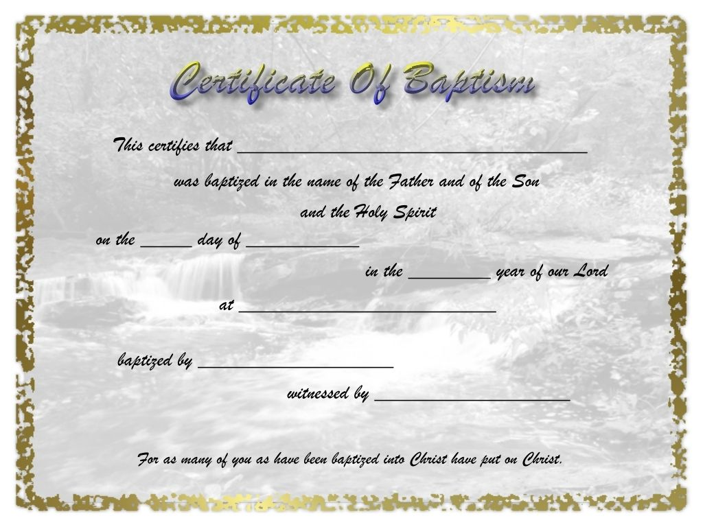 Microsoft Word Baptism Certificate Template - FREE DOWNLOAD
