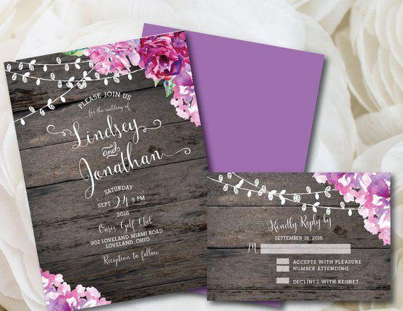 Purple Wedding Invitation Rustic Wedding Invitation Printable