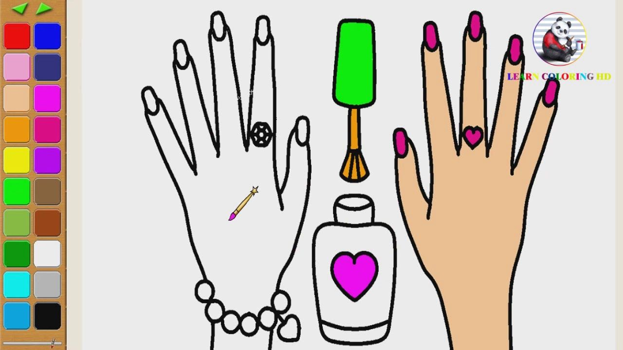 How To Draw Nail Polish Coloring Page For Kids I Learn Coloring