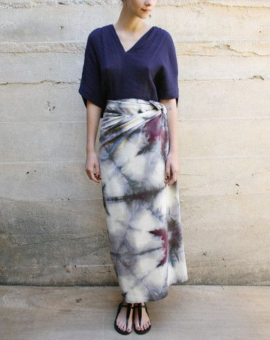 Upstate  Silk Noil Sarong In Earth Itajime
