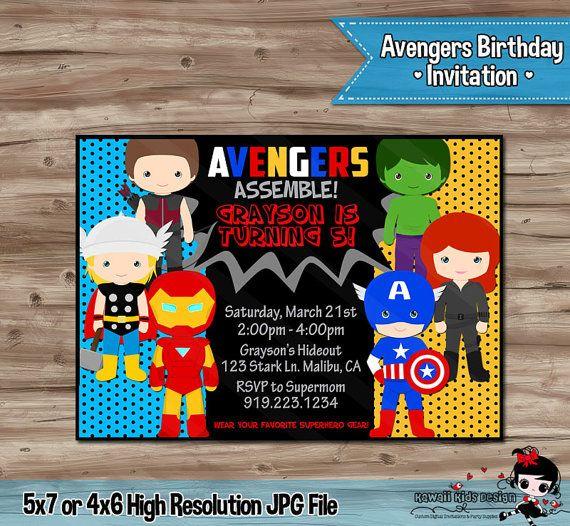 AVENGERS Birthday Invitation Avengers Superhero by SewKawaiiKids