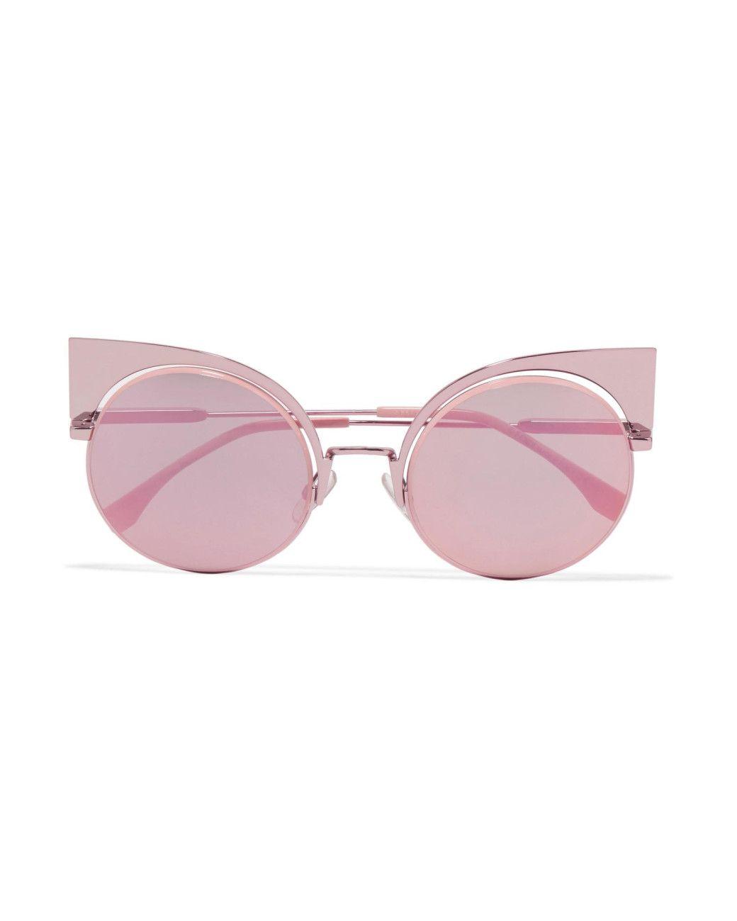 0e82b90509be Women s Pink Cat-eye Metal Mirrored Sunglasses