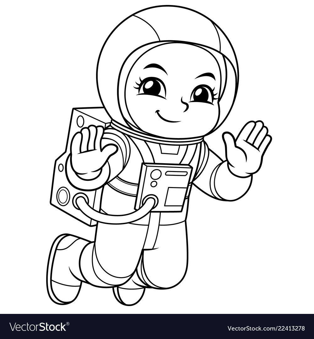 Astronaut Girl Floating In Empty Space Bw Vector Image On Boyama