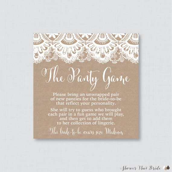 printable burlap and lace lingerie shower panty game cards and sign the panty game is a fun game to play at your lingerie shower or