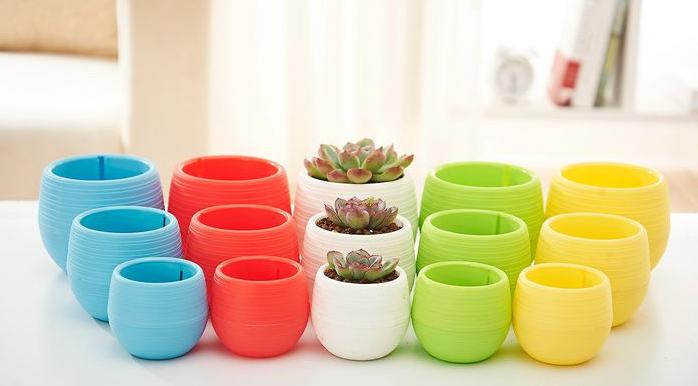 Round Modern Plastic Flower Pot With Flush Drip Tray Multiple Colors Plastic Flower Pots Plastic Plant Pots Colorful Plants