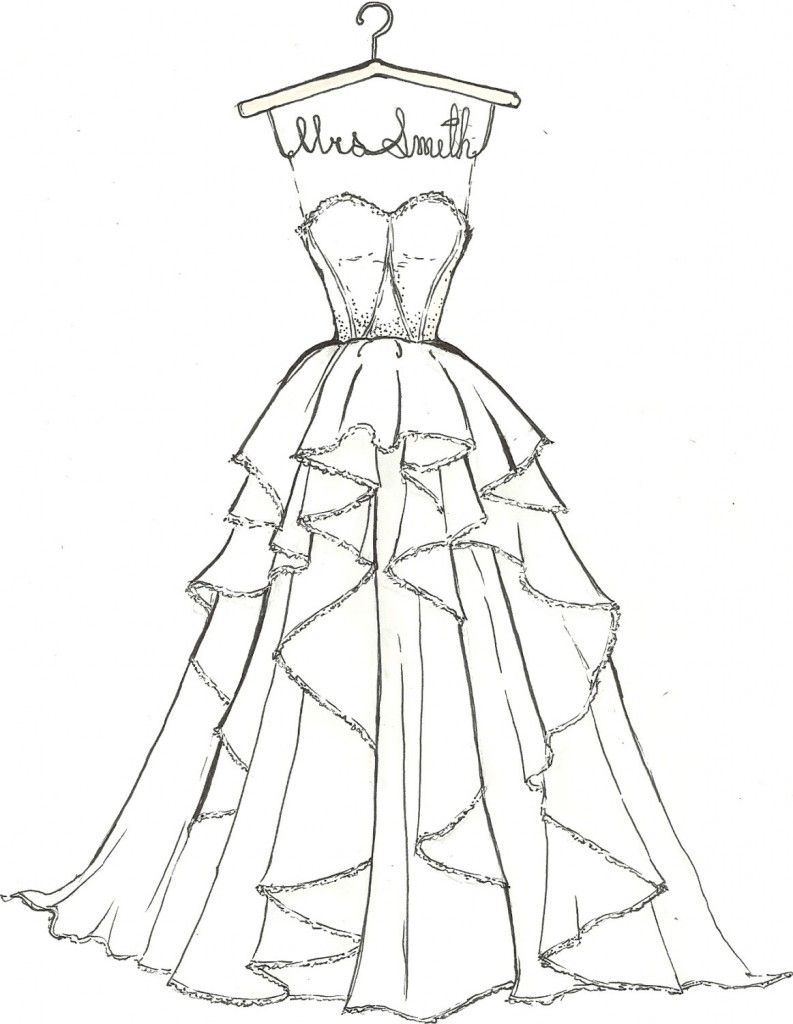 Coloring pages dresses - Wedding Dress Coloring Pages Kids Wedding Dress Coloring Pages Kids