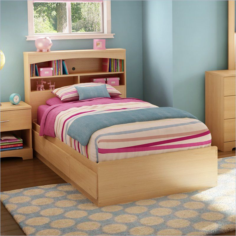 south shore shiloh twin mates bed in natural maple - Girl Twin Bed Frame