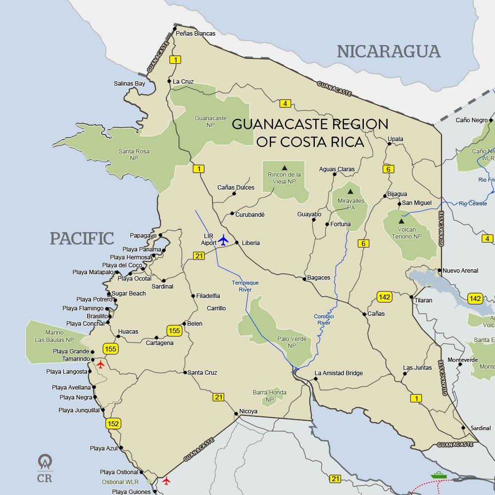 Map of the Guancaste Region, Costa Rica | TRAVEL: Costa Rica 2013 in ...
