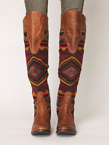 459776fde93 Freebird by Steve Madden Aztec print boots knee brown leather ...
