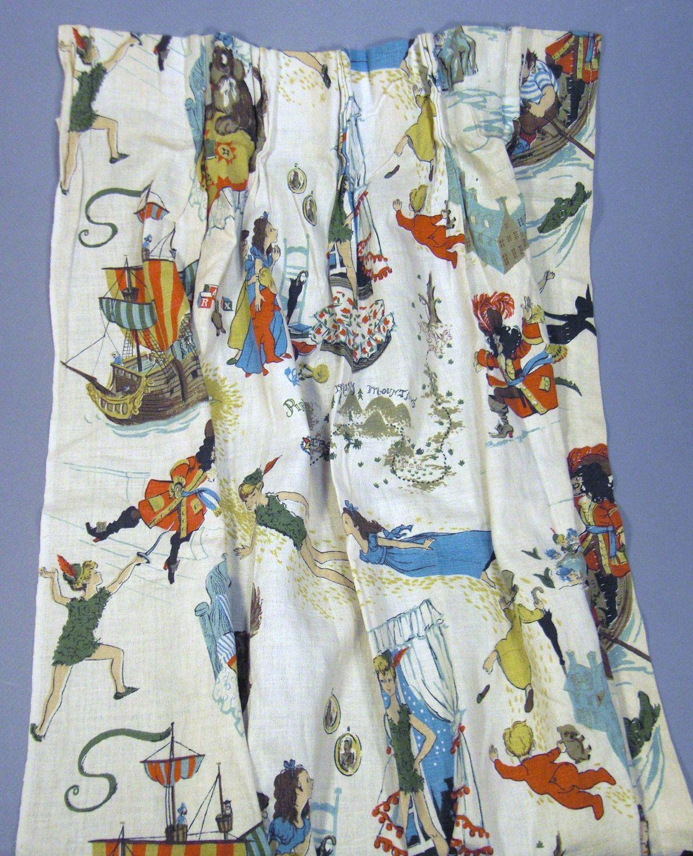 Vintage Peter Pan Curtain Printed Panel 1950s Barkcloth