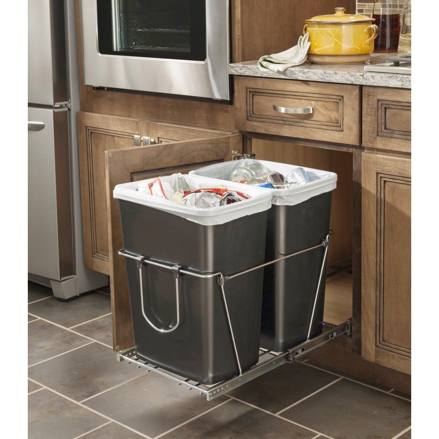 shop rev a shelf 35 quart plastic pull out trash can at on lowes paint sale today id=65283