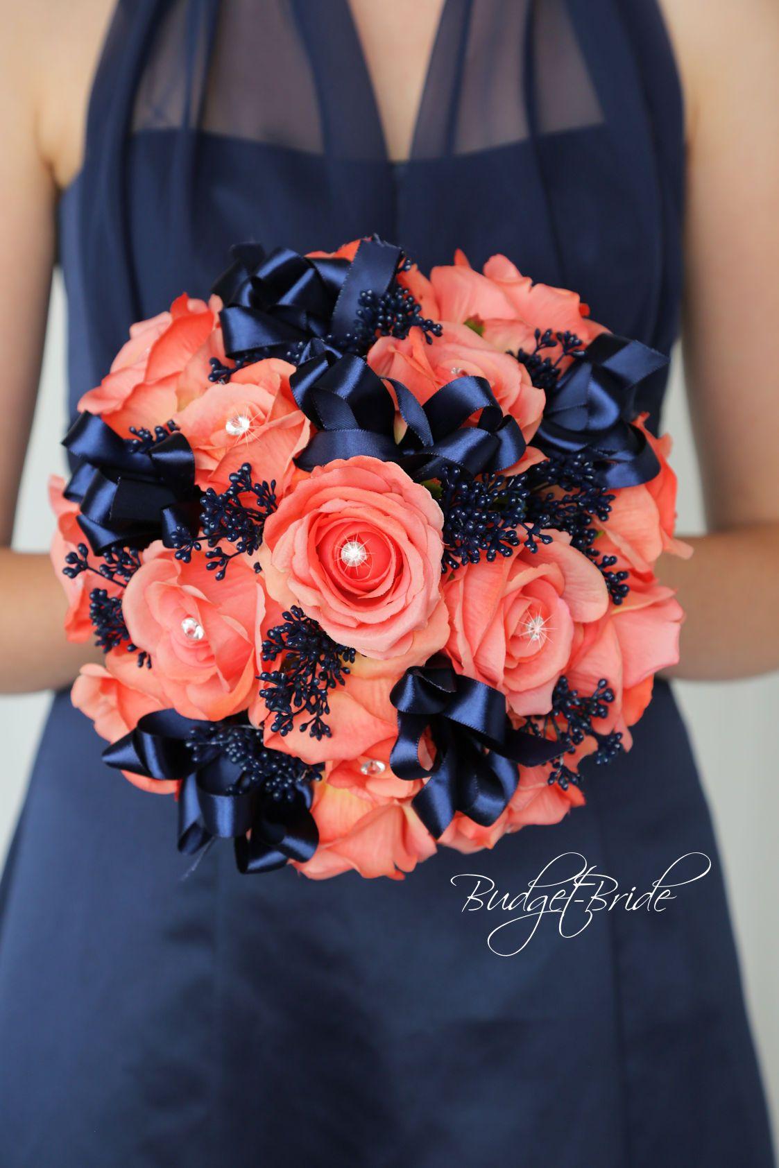 Marine Blue and Coral Reef Davids Bridal Wedding Bouquet | Blue ...