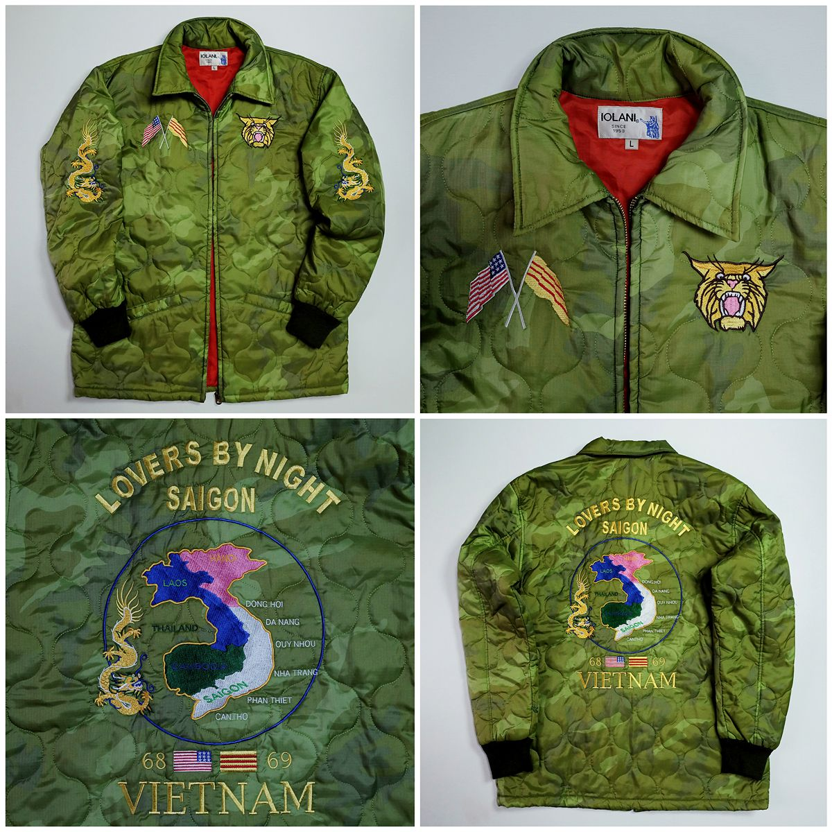 ecc08fbd6 Vintage IOLANI Japanese Japan VIETNAM Lover's by Night Tiger Tora Camo  Camouflage Military Tattoo Art Embroidery Embroidered Bomber Sukajan  Souvenir Jacket ...