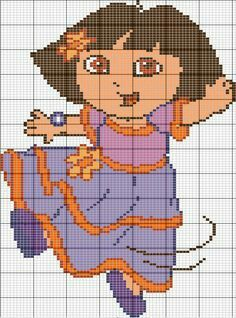 Dora the explorer x-stitch