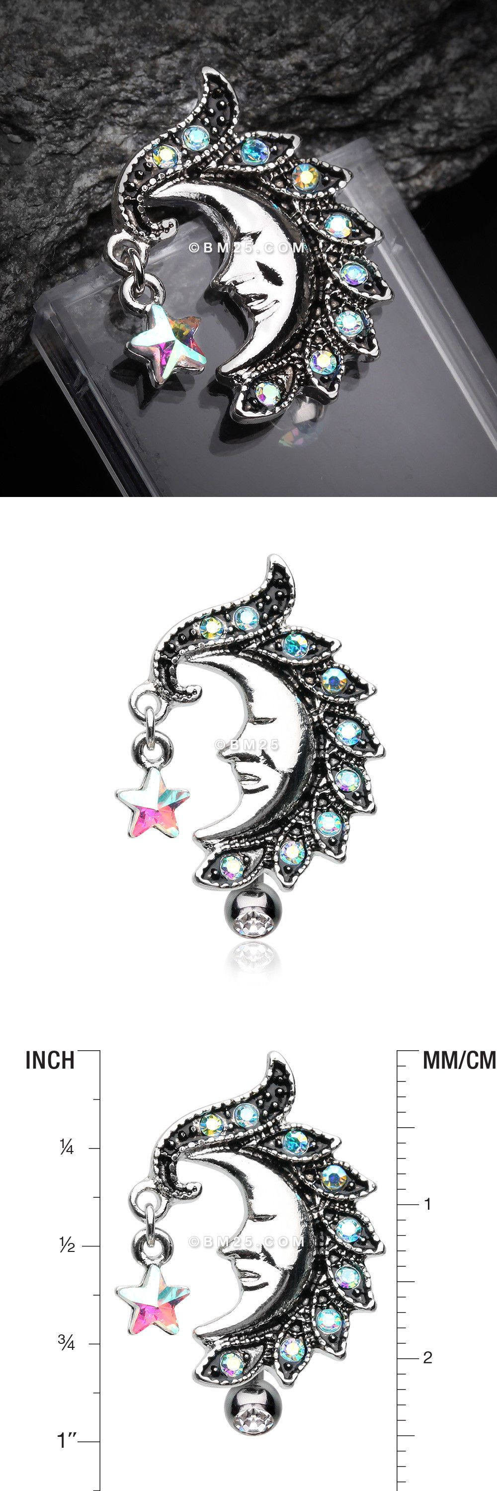 Body piercing jewelry  Sparkle Star Crescent Moon Reverse Belly Button Ring  Body Piercing