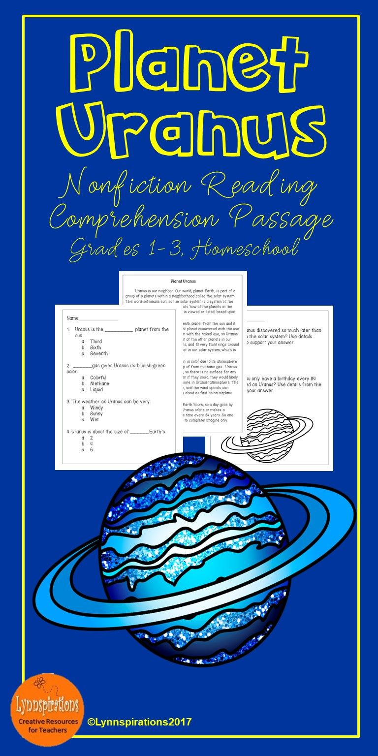 This reading comprehension activity is great for teaching the science of Planet Uranus to grades 1-3. It can be used in your class to help your students with reading comprehension skills as well as with test taking skills. It is part of the Astronomy Bundle. Please take a preview peek! Included: An engaging passage with 4 multiple choice questions and 2 written responses.