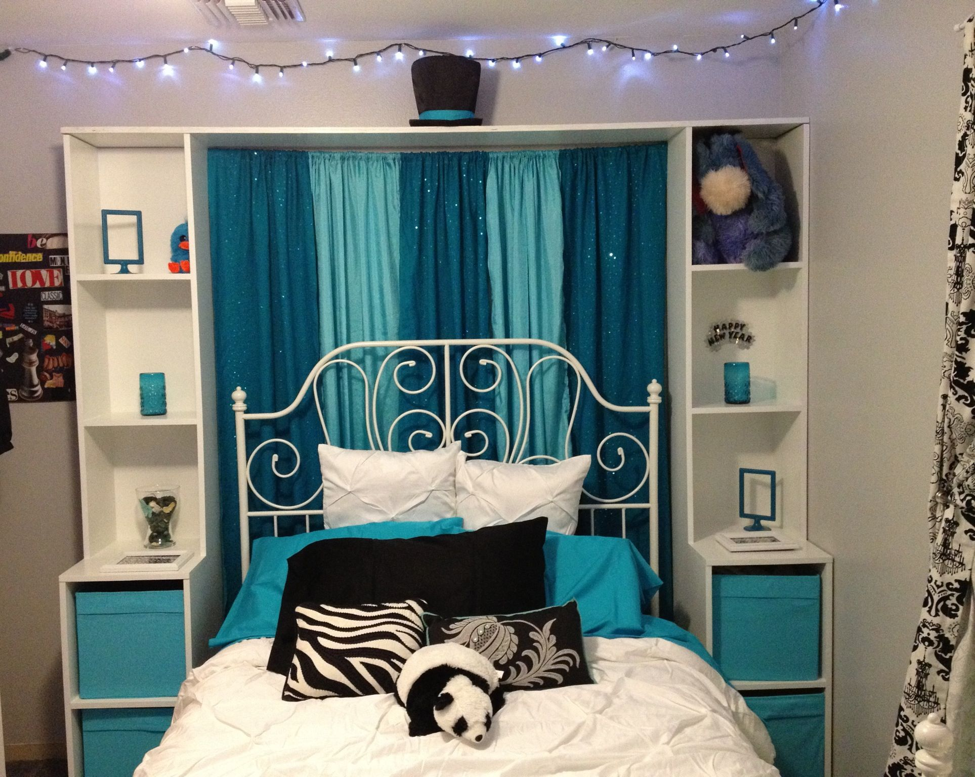 Teal and Aqua black and white bedroom redo for my 14 year old So