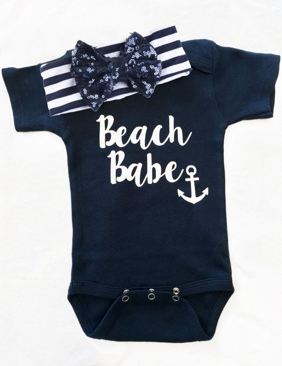34f6f39d5a Baby Girl Onesie Beach Babe onesie Anchor Inspired by KLorDesigns Cute Baby  Clothes, Baby Girl