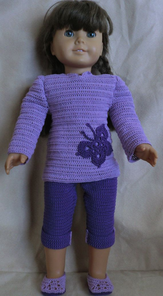 183 Purple Capri Set Crochet Pattern For American Girl Dolls