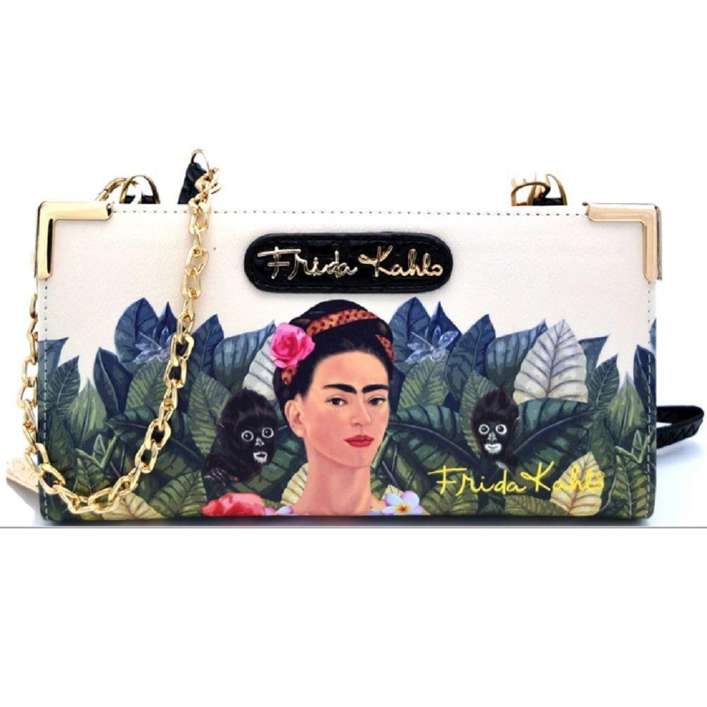 Frida Kahlo Zipper Wallet with Cross Body Strap