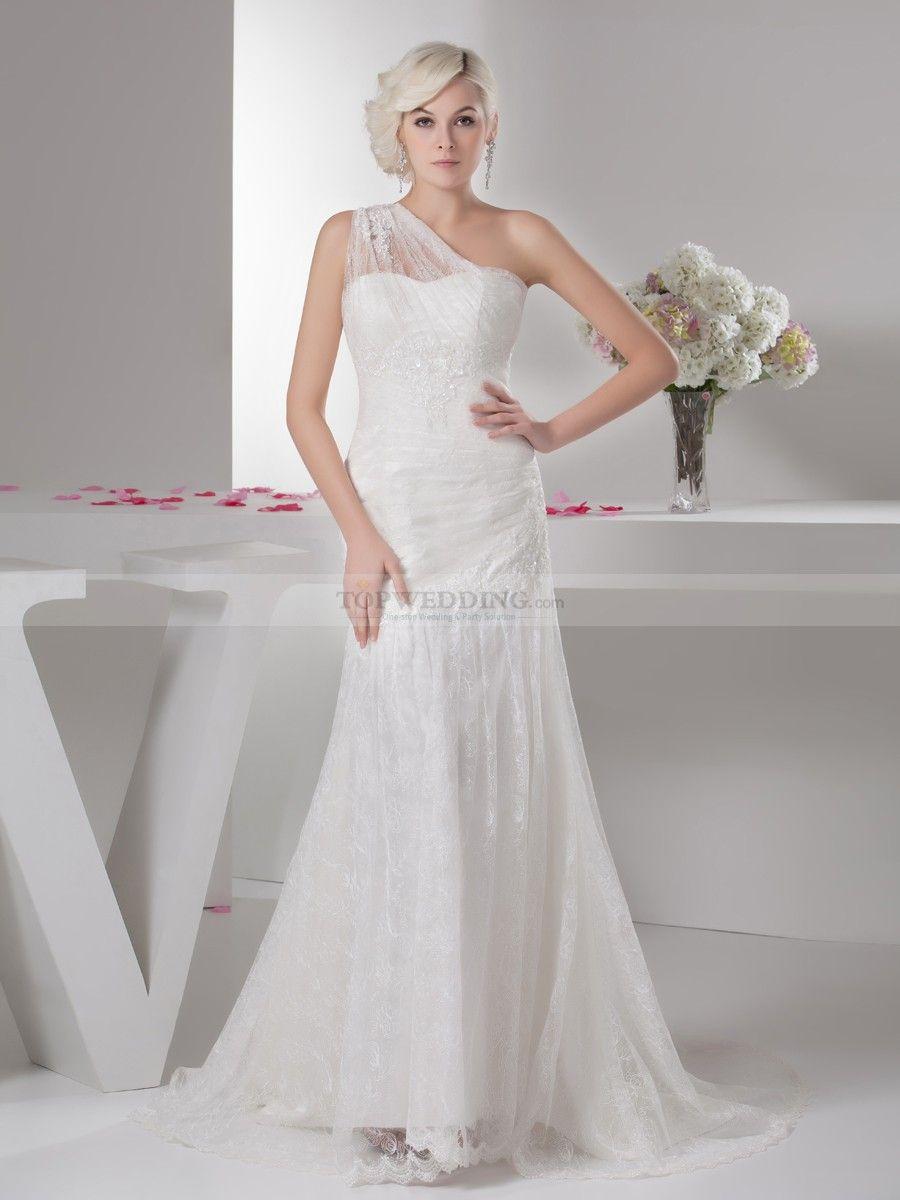Mariquita - sjöjungfru en axel satäng brudklänning | Wedding Dress ...