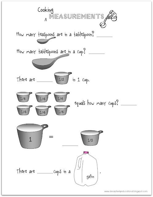 free printable worksheet for practicing teaspoons tablespoons cups gallons measurement. Black Bedroom Furniture Sets. Home Design Ideas