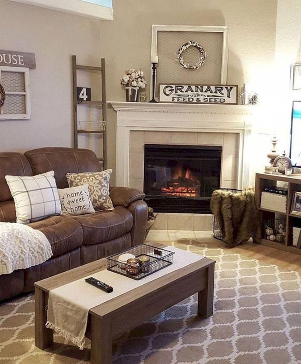 46 Cozy Farmhouse Living Room Decor Ideas That Make You Feel In Village Bui Brown Couch Living Room Modern Farmhouse Living Room Rustic Farmhouse Living Room