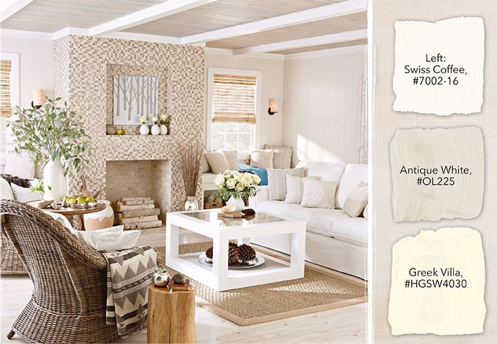 Merveilleux Contemporary, Casual Living Room With Antique White Paint And A Modern  Fireplace And Neutral Furnishings. Three Shades Of White Paint Samples Show  The Color ...