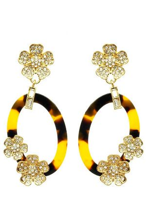 Le Chic Oval Flower Crystal Earrings in Brown & White