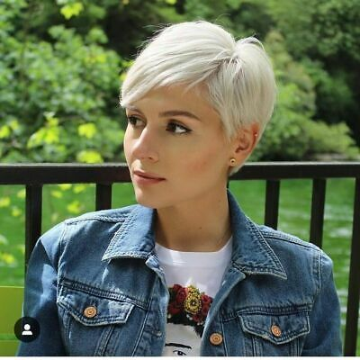 Cosplay Women Short pixie Cut Hair White Gray Silv