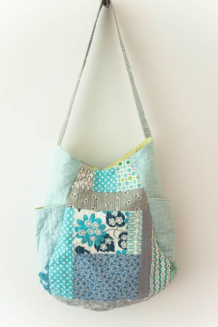 Aqua blue and grey quilted 241 tote bag. $50.00, via Etsy.