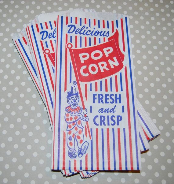 Popcorn Bags 100 Vintage Retro Clown Carnival Circus Concessions Food Bulk Party Movie Night Football Slumber 12 99 Via Etsy